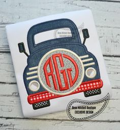 Truck front monogram applique by BeauMitchellBoutique on Etsy https://www.etsy.com/listing/237328292/truck-front-monogram-applique