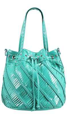 y Melie Bianco  Brenda Woven Bucket Bag, Teal#Repin By:Pinterest++ for iPad#