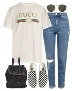 """Sin título #2181"" by alx97 ❤ liked on Polyvore featuring Topshop, Gucci, Vans, STELLA McCARTNEY and Ray-Ban"