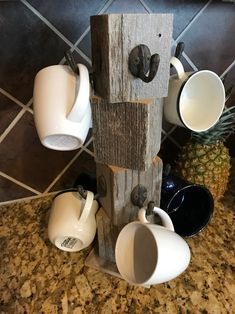 Farmhouse coffee mug tree Wooden cup holder Kitchen display stand Counter top storage hanger for 8 mugs New colors Black White Red Coffee Cup Rack, Coffee Mug Display, Coffee Mug Holder, Coffee Cups, Coffee Cup Storage, Barn Wood Decor, Wood Mug, Mug Tree, Kitchen Display
