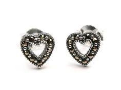 Silver Earrings - Marcasite Hearts