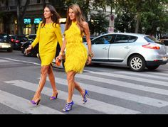 Love the yellow dress on the left.  So simple and classic.