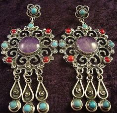 TAXCO MEXICAN STERLING SILVER VINTAGE DESIGN AMETHYST TURQUOISE EARRINGS MEXICO $99.95