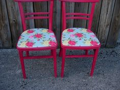 1950's kitchen chairs painted in Emperor's Silk Chalk Paint™ with Cath Kidston oilcloth.