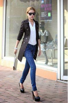 Khaki/Black European Style Fashionable Slimmed Trench Coat | Fashion Bloggers And Style