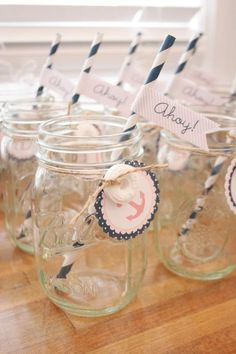 Sailor Girl Nautical Birthday Party: mason jar with printable tag + Lifesaver candy