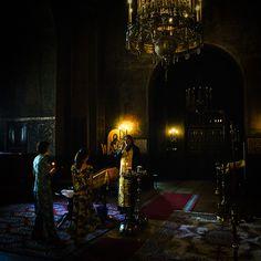 Inside a Bulgarian Orthodox church....