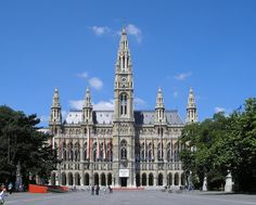 City Hall-The Rathaus was designed by Friedrich von Schmidt in the Neo-Gothic style, and built between 1872 and 1883. On the top of the tower is the Rathausmann, one of the symbols of Vienna. Facing the Rathaus is a large park, the Rathauspark.