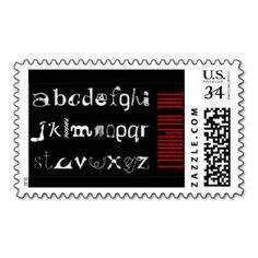 The Latin Alphabet, Black White Red  Postage #Stamps