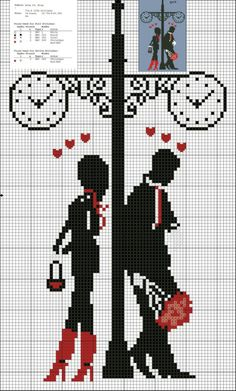 Couple in Love Free Cross Stitch Pattern Chart