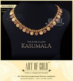 Have a look at Kemp stone studded Kasumala, Antique Kasumala, Reversible Kasumala from Art of Gold. Match them with Kasu Bangles or give them an antique look with mugappu Jewelry Model, Jewelry Shop, Custom Jewelry, Ruby Jewelry, India Jewelry, Tiffany Jewelry, Personalized Jewelry, Bridal Jewelry, Jewelry Making