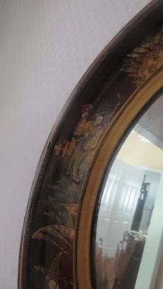 Ca. 1920 Chinoiserie hand painted round beveled mirror