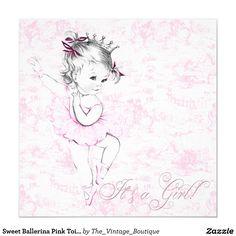 Sweet Ballerina Pink Toile Baby Shower Card