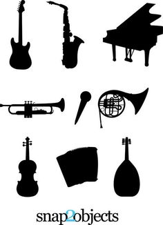 Download Musical instruments silhouettes