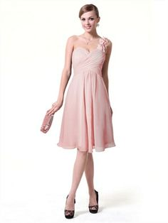 Pink Knee-Length Sweetheart One Shoulder Pleat Chiffon Bridesmaid Dresses ABN021