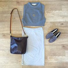 Cropped Sweater Tank, Yuma Pencil Skirt, Emerson Suede Loafers, Kara Eggplant…