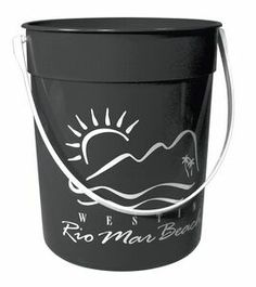 87 oz Recycled Pail - This 87 oz. black sand bucket is made from 96% recycled material and is excellent for packing with goodies and handing out at your next corporate retreat