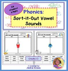This is a packet of 24 cut, paste, or color worksheets that can be used in literacy centers, as homework, bell work or for fast finishers. They could also be used to paste into an interactive phonics notebook or word book so that the kids could go back and re-visit the pages.Each page has graphics that help support the word card sounds.