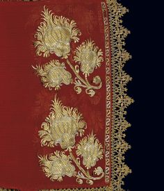Ottoman Era Embroideries from Greece in the Benaki Museum, Athens - Detail of the gold-thread embroidery on a sleeve of a bridal chemise. From Skyros island, c.