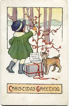 Christmas card with girl decorating tree and dog with ribbon in mouth | A Polar Bear's Tale