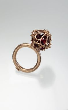 Alexandria Sphere Ring 14k Solid Gold Ring Garnet by Kosmimata