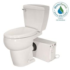Thetford Bathroom Anywhere GPF Single Flush Elongated Toilet with Seat Macerating Pump in - The Home Depot