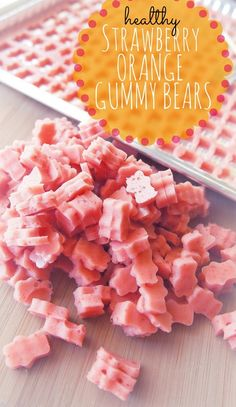 Healthy Strawberry Orange Gummy – The healthiest gummy bears you will ever eat. // via Undressed Skeleton Yummy Recipes, Baby Food Recipes, Snack Recipes, Dessert Recipes, Yummy Food, Desserts, Tasty, Protein Recipes, Detox Recipes