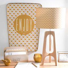 DALYA PORTO tripod wooden lamp and yellow lampshade H 62 cm