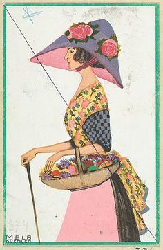 Fashion (Easter Card), Artist: Mela Koehler (Austrian, Vienna 1885–1960 Stockholm), Publisher: Wiener Werkstätte Date: 1910