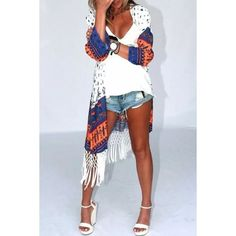 Shop for Fringe Spliced Floral Print Kimono Blouse at ZAFUL. Free Shipping And Affordable Prices.