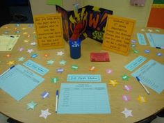 One stop table with sign ups and wish list stars for open house