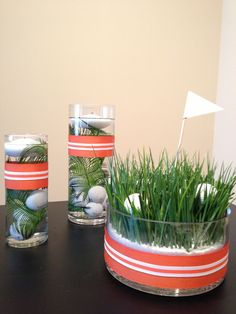 Golf Centerpiece  - set of 3  - choose ribbon color by PrettyFancyDesigns, $135.00