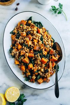 """Roasted Sweet Potato, Kale and Farro Salad with Lemon Tahini Dressing- perfect for healthy lunches or a nutritious side item to serve for the holidays! (vegan + nut-free) For those of you that are vegetarian or vegan, you know that the holidays with family members who eat more """"traditionally"""" means that: You scavenge through the …"""