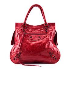 Balenciaga Red Leather Handle Bag.