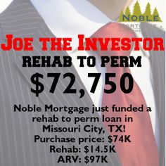 #fundingfriday #JoetheInvestor #rehabtoperm #realestateinvesting  Did you know that Noble Mortgage can close both a hard money loan and a conventional loan under the same roof? Interested in obtaining a rental property to produce cash flow? Give us a call! 713-680-8100