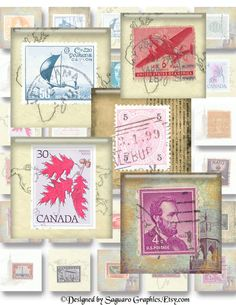 OLD STAMPS  15x15 inch  Avail in Scrabble Tiles by SaguaroGraphics, $4.15