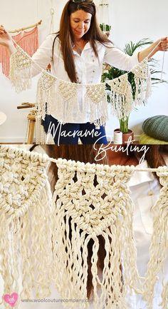 Bunting with a twist – a macrame twist Ammer mit einem Twist – ein Makramee-Twist Bunting Tutorial, Flower Tutorial, Macrame Wall Hanging Diy, Macrame Design, Macrame Projects, Macrame Tutorial, Macrame Patterns, Macrame Knots, Weaving