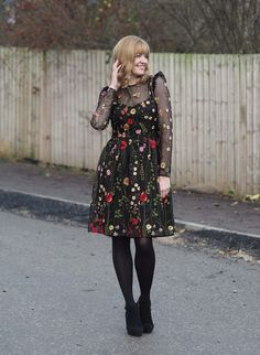 What Lizzy Loves - black embroidered floral sheer dress