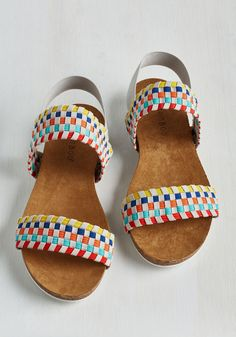 You Got It Glad Sandals. Theres no denying that youre madly in love with these rainbow sandals! #multi #modcloth