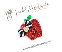 A personal favorite from my Etsy shop https://www.etsy.com/listing/243719162/babygirlchilds-glitter-red-apple-fall