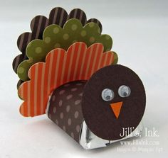 "What a cute idea! This is another one I saw a while ago and had to try. Wouldn't this be a cute favor to set by each place at your Thanksgiving table! I used the 1"" Circle Punch with Chocolate Chip Card Stock to make the head and the Scallop..."