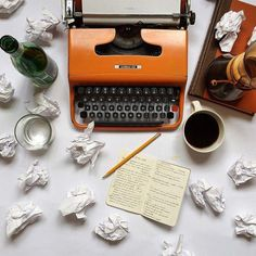 10 Writing Exercises to Help Your Creative Flow — Write or Die Tribe Writing Tips, Writing Prompts, Writing Machine, Writing Exercises, Jules Verne, Vintage Typewriters, Book Worms, Coffee Cups, Luther