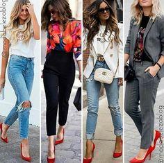 🍁Scarpin vermelho pra você se inspirar 🍁 . . Repost @modabelezablog  #vestido #vestidoverao2019 #scarpin #guardaroupainteligente… Red Pumps, Ideias Fashion, Capri Pants, Kimono Top, Women, Style, Red Shoes, Shabby Chic Fashion, Dresses