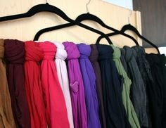 organize tights on hangers