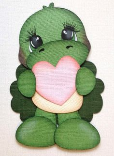 Items similar to valentine turtle set handmade paper piecing by My tear bears by Kira on Etsy Paper Punch Art, Punch Art Cards, Cute Turtles, Paper Piecing Patterns, Paper Hearts, Kids Cards, Paper Dolls, Cardmaking, Illustrations