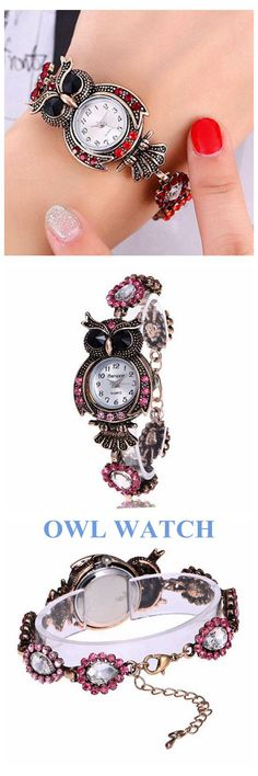 [Newchic Online Shopping] 46%OFF Vintage Crystal Owl Bracelet Women Watches