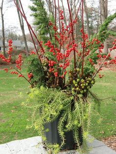As the temperatures drop and the garden tucks in for its winter slumber,  containers step out of their supporting roles to take a star turn in the  garden. Here are a few tips and inspiration photos for creating beautiful  winter pots.  Jazz up your winter landscape with pots, hanging baskets a