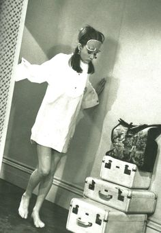 Audrey Hepburn. Waking-up and checking luggage. Breakfast At Tiffany's. '61.