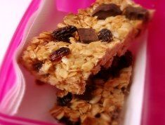 Homemade muesli bars  I've been using this recipe for ages!  Swap the sultanas & coconut for some nuts & use choc chips not dried fruit...yummy!