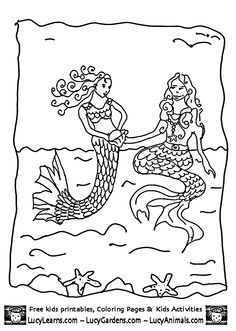 Little Mermaid Coloring Pages playing with Older Sister Mermaid Picture,Coloring Pages Mermaid 1, Fantasy Coloring Pages for Kids